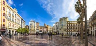 Κύριο Square Plaza de Λα Constitucion στη Μάλαγα, Ισπανία Στοκ φωτογραφία με δικαίωμα ελεύθερης χρήσης