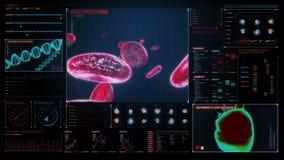 Κύτταρα αίματος Ανθρώπινο καρδιαγγειακό σύστημα, φουτουριστική ιατρική εφαρμογή Ψηφιακή επιτροπή ενδιάμεσων με τον χρήστη διανυσματική απεικόνιση