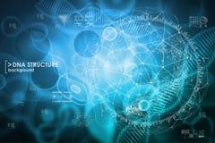 Κύτταρο και υπόβαθρο DNA με τα στοιχεία διεπαφών HUD UI για ιατρικό app Στοκ φωτογραφίες με δικαίωμα ελεύθερης χρήσης