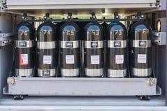 Κύλινδροι οξυγόνου στην επίδειξη Στοκ Φωτογραφία