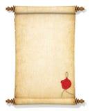 Κύλινδρος του παλαιού κιτρινισμένου εγγράφου με μια σφραγίδα κεριών στοκ φωτογραφία