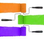 Κύλινδρος χρωμάτων με πορτοκαλιοί πράσινος και πορφυρός στοκ εικόνα με δικαίωμα ελεύθερης χρήσης