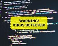 Κώδικας προγράμματος με την επιφυλακή ιών Επίδραση δυσλειτουργίας προστιθέμενη Στοκ Φωτογραφία