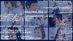Κώδικες διεπαφών και οθόνες της εργασίας κεντρικών πρακτόρων κλήσης διανυσματική απεικόνιση