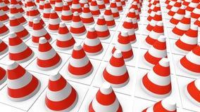 Κώνοι κινούμενης κυκλοφορίας στο λευκό ελεύθερη απεικόνιση δικαιώματος