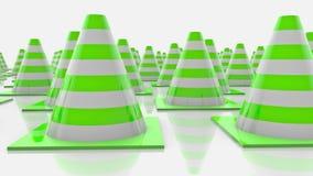 Κώνοι κινούμενης κυκλοφορίας με τα πράσινα λωρίδες απεικόνιση αποθεμάτων