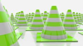 Κώνοι κινούμενης κυκλοφορίας στις σειρές με τα πράσινα λωρίδες διανυσματική απεικόνιση