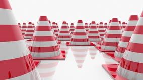 Κώνοι κυκλοφορίας στις σειρές με τα κόκκινα λωρίδες απεικόνιση αποθεμάτων