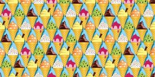 Κώνοι παγωτού στις διάφορες γεύσεις Στοκ Εικόνα