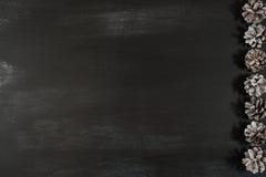 Κώνοι σε έναν μαύρο πίνακα κιμωλίας Στοκ Φωτογραφία