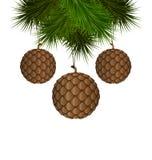 Κώνοι όπως τις σφαίρες Χριστουγέννων που κρεμούν στους κλάδους πεύκων απεικόνιση αποθεμάτων