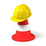 Κώνος κυκλοφορίας και σκληρό εικονίδιο καπέλων που απομονώνονται στο άσπρο υπόβαθρο Στοκ Εικόνα