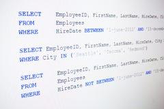 Κώδικας της σύνταξης SQL στοκ εικόνα