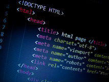 Κώδικας HTML στοκ φωτογραφία με δικαίωμα ελεύθερης χρήσης