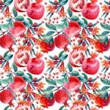 Κλάδοι άνθισης ροδιών Watercolor και άνευ ραφής σχέδιο φρούτων Στοκ φωτογραφία με δικαίωμα ελεύθερης χρήσης