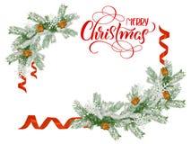 Κλάδοι έλατου πλαισίων με τη Χαρούμενα Χριστούγεννα και θέση για το κείμενο Εγγραφή καλλιγραφίας Στοκ φωτογραφία με δικαίωμα ελεύθερης χρήσης