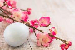 Κλάδοι λουλουδιών ανθών κερασιών με ένα μπλε αυγό Πάσχας κρητιδογραφιών Στοκ Φωτογραφία