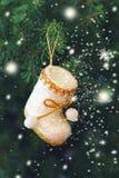 Κλάδοι του FIR, γυναικείες κάλτσες Χριστουγέννων και snowflakes Στοκ Φωτογραφίες