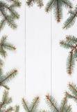 Κλάδοι του FIR με μορφή πλαισίου στον άσπρο ξύλινο πίνακα Χριστούγεννα και σύνθεση καλής χρονιάς Επίπεδος βάλτε, κορυφή Στοκ Φωτογραφίες