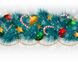 Κλάδοι χριστουγεννιάτικων δέντρων με τα στολισμούς στο grayscale ελεύθερη απεικόνιση δικαιώματος