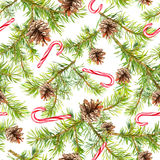 Κλάδοι χριστουγεννιάτικων δέντρων πεύκων, κάλαμος καραμελών πρότυπο άνευ ραφής watercolor Στοκ εικόνες με δικαίωμα ελεύθερης χρήσης