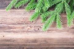 Κλάδος δέντρων του FIR στο ξύλινο υπόβαθρο Στοκ Εικόνες