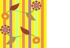 Κλάδος λουλουδιών στο ριγωτό υπόβαθρο διανυσματική απεικόνιση