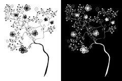 Κλάδος, λουλούδια και πεταλούδες δέντρων (αφαίρεση) Στοκ φωτογραφίες με δικαίωμα ελεύθερης χρήσης