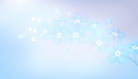 Κλάδος των μπλε forget-me-not λουλουδιών - διανυσματική απεικόνιση Στοκ εικόνα με δικαίωμα ελεύθερης χρήσης