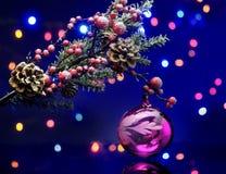 Κλάδος χριστουγεννιάτικων δέντρων με τη σφαίρα διακοσμήσεων Υπόβαθρο νεράιδων Μαγική αντανάκλαση Στοκ φωτογραφίες με δικαίωμα ελεύθερης χρήσης