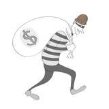 Κλέφτης κινούμενων σχεδίων με την τσάντα χρημάτων Στοκ εικόνα με δικαίωμα ελεύθερης χρήσης