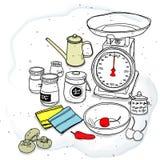 Κλίμακα και καρύκευμα κουζινών Στοκ φωτογραφία με δικαίωμα ελεύθερης χρήσης