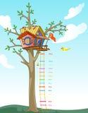 Κλίμακα ύψους παιδιών σπιτιών δέντρων απεικόνιση αποθεμάτων