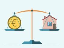 Κλίμακες, ευρώ και σπίτι Στοκ Φωτογραφία