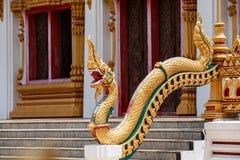 Κλίμακες του αγάλματος Naga στα λείψανα του μπροστινού Βούδα εισόδων Στοκ Εικόνα