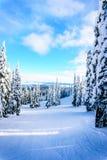 Κλίσεις σκι και ένα χειμερινό τοπίο με τα χιονισμένα δέντρα στους λόφους σκι κοντά στο χωριό των αιχμών ήλιων στοκ εικόνα με δικαίωμα ελεύθερης χρήσης