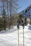 Κλίση σκι με τα ραβδιά και τα γάντια Στοκ φωτογραφία με δικαίωμα ελεύθερης χρήσης