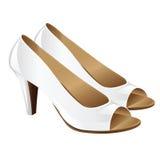 Κλασικά παπούτσια γυναικών στο τακούνι με τα ανοικτά δάχτυλα Στοκ Εικόνες