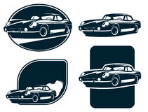 Κλασικές ετικέτες σκιαγραφιών αυτοκινήτων, εκλεκτής ποιότητας αναδρομικό διάνυσμα αυτοκινήτων Κλασικό αθλητικό αυτοκίνητο Στοκ φωτογραφίες με δικαίωμα ελεύθερης χρήσης
