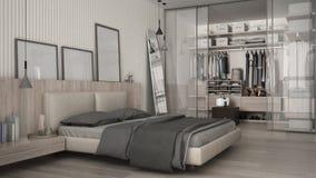 Κλασική ελάχιστη κρεβατοκάμαρα με το εισαγώμενο ντουλάπι στοκ φωτογραφία με δικαίωμα ελεύθερης χρήσης