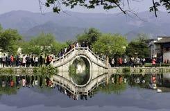 Κλασική κινεζική γέφυρα, Hongcun Στοκ Εικόνες