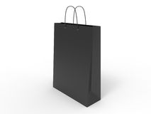 Κλασική μαύρη τσάντα αγορών, που απομονώνεται τρισδιάστατη απεικόνιση Στοκ Φωτογραφία