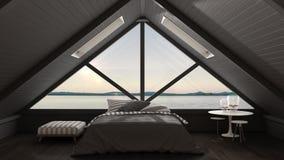 Κλασική σοφίτα ημιωρόφων με το μεγάλο πανόραμα παραθύρων και θάλασσας, κρεβατοκάμαρα στοκ εικόνα