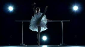 Κλασικός χορευτής μπαλέτου στην άσπρη τοποθέτηση tutu σε ένα απόθεμα βίντεο