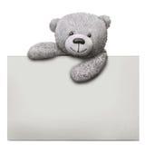 Κλασικός teddy αντέχει το παιχνίδι με το πρότυπο καρτών εγγράφου Στοκ Εικόνα