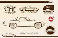 Κλασικό αθλητικό αυτοκίνητο της Ιαπωνίας, σκιαγραφίες Στοκ Εικόνα