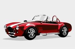 Κλασικό ανοικτό αυτοκίνητο εναλλασσόμενου ρεύματος Shelby Cobra αθλητικών κόκκινο αυτοκινήτων απεικόνιση αποθεμάτων