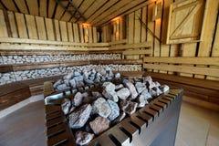 Κλασικό ξύλινο εσωτερικό σαουνών Στοκ φωτογραφία με δικαίωμα ελεύθερης χρήσης