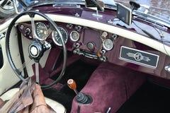 Κλασικό τιμόνι αυτοκινήτων MG Στοκ Φωτογραφίες