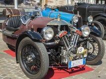 Κλασικό cars_2015_Morgan τρία wheeler_front του νότιου Τυρόλου totale Στοκ φωτογραφία με δικαίωμα ελεύθερης χρήσης